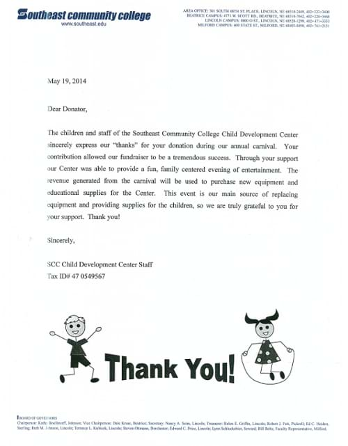 child development center letter