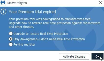 Disable MBAM Premium Trial Popups